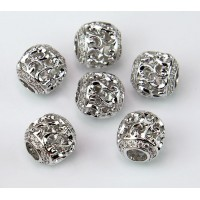 Art Deco Swirl Cubic Zirconia Bead, Rhodium Plated, 10mm Round