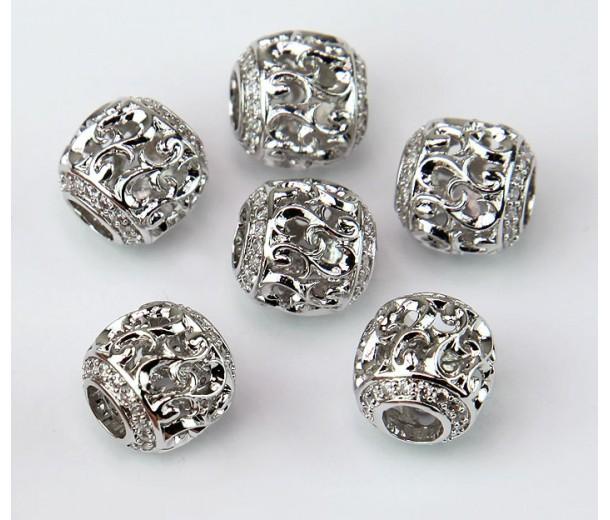 Art Deco Swirl Cubic Zirconia Beads, Rhodium Plated, 10mm Round