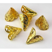 17x10mm Filigree 2-Petal Cone Bead Caps, Gold Tone