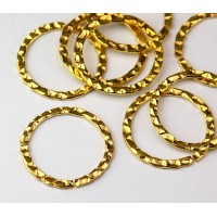 26mm Hammered OPEN Linking Rings, Gold Tone, Pack of 10