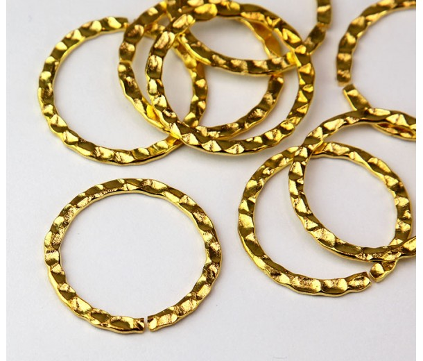 26mm Hammered OPEN Linking Rings, Gold Tone