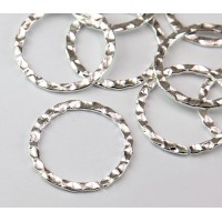 26mm Hammered OPEN Linking Rings, Silver Tone, Pack of 10