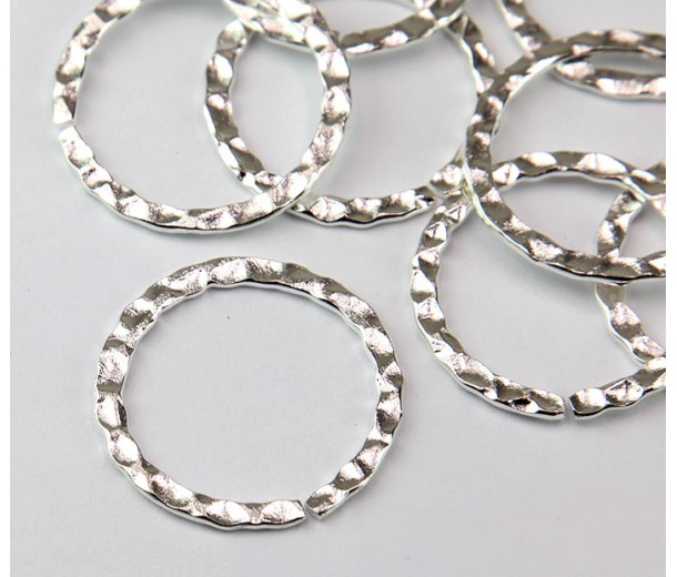 26mm Hammered OPEN Linking Rings, Silver Tone