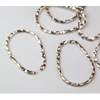 33x23mm Hammered OPEN Teardrop Links, Silver Tone