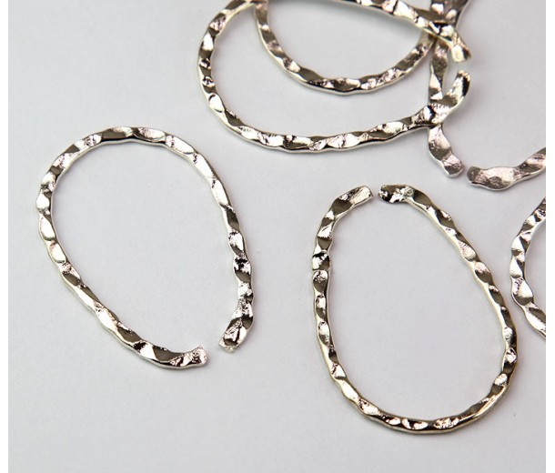 33x23mm Hammered OPEN Teardrop Links, Silver Tone, Pack of 10
