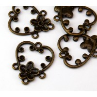 28mm Floral Heart Chandelier Components, Antique Brass, Pack of 4