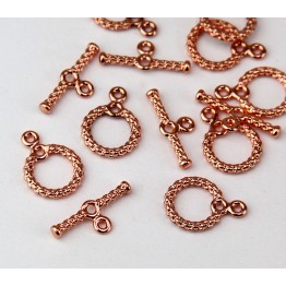 11mm Textured Toggle Clasp, Shiny Copper
