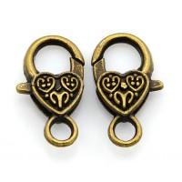 25x14mm Heart Lobster Clasps, Antique Brass