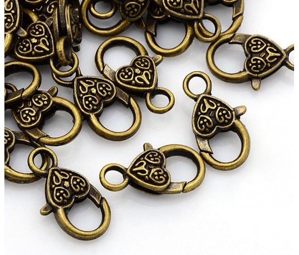 25x14mm Heart Lobster Clasps, Antique Brass, Pack of 10