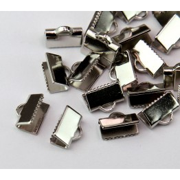 10x7mm Smooth Ribbon Ends, Rhodium Plated