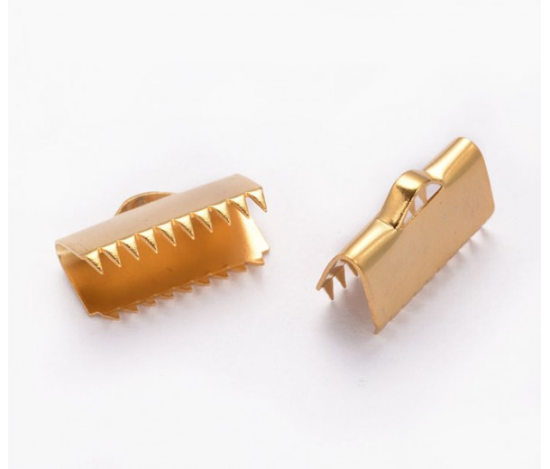 15x7mm Smooth Ribbon Ends, Stainless Steel, Gold Tone