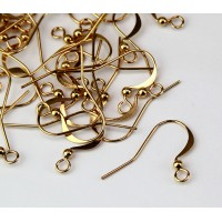 16mm Flat Hook Ear Wires with Ball, Gold Plated