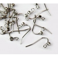 20mm Stainless Steel Hook Ear Wires with Rhinestone, Pack of 20