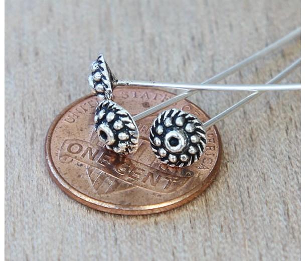 2 Inch 18 Gauge Fancy Head Pins, Antique Silver