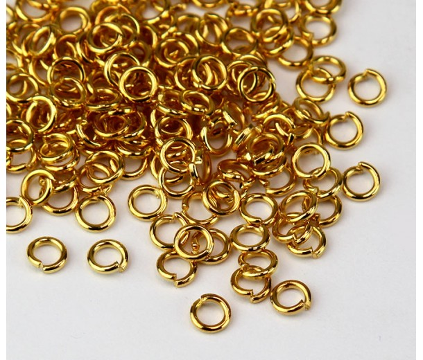 4mm 19 Gauge Open Jump Rings, Round, Gold Tone