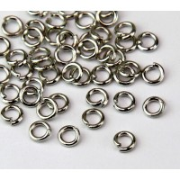5mm 18 Gauge Open Jump Rings, Round, Rhodium Plated, Pack of 100