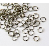 5mm 21 Gauge Open Jump Rings, Round, Rhodium Plated