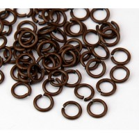 6mm 18 Gauge Open Jump Rings, Round, Antique Copper, Pack of 100