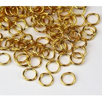 6mm 21 Gauge Open Jump Rings, Round, Gold Tone