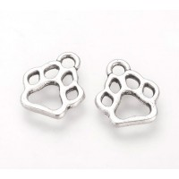 13mm Cutout Paw Print Charms, Antique Silver