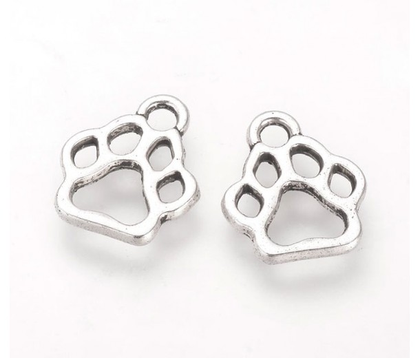 13mm Cutout Paw Print Charms, Antique Silver, Pack of 5