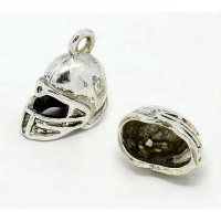 17mm Sports Helmet Charm, Antique Silver, 1 Piece