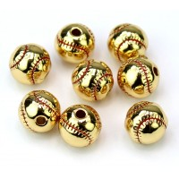 9mm Baseball Bead, Gold Tone
