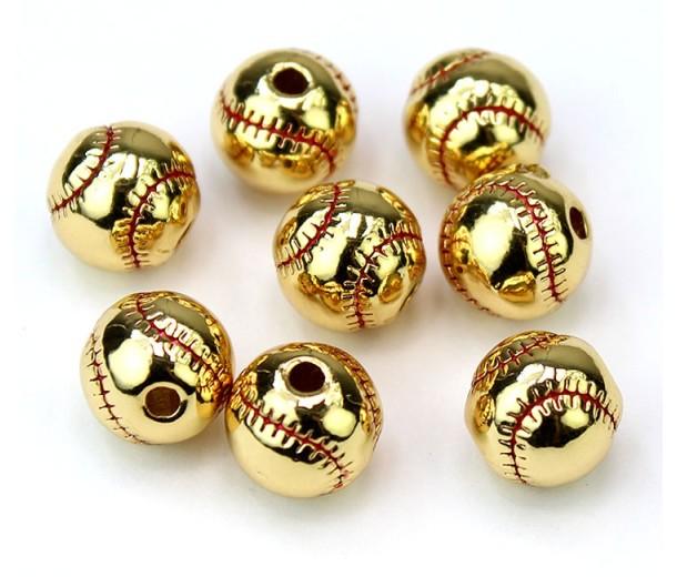 9mm Baseball Bead, Gold Tone, 1 Piece
