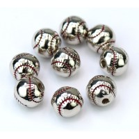 9mm Baseball Bead, Rhodium Finish, 1 Piece