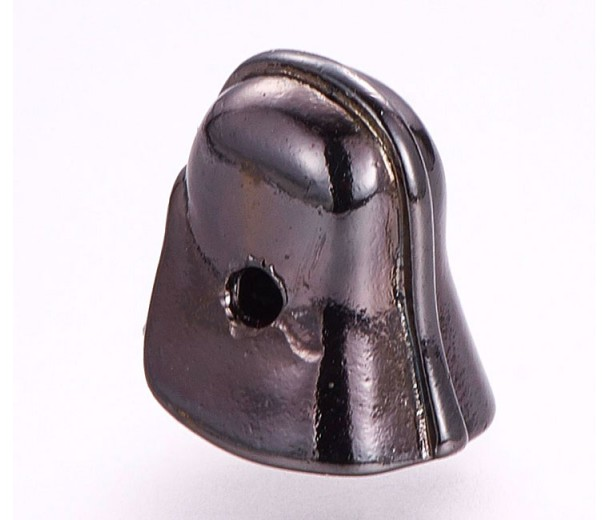 10x12mm Helmet Focal Bead with Rhinestones, Gunmetal Finish