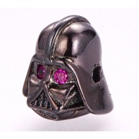10x12mm Helmet Focal Bead with Rhinestones, Gunmetal Finish, 1 Piece