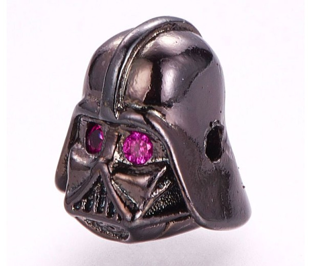 10x12mm Helmet Focal Bead with Rhinestones, Gunmetal Finish, 1 Piece