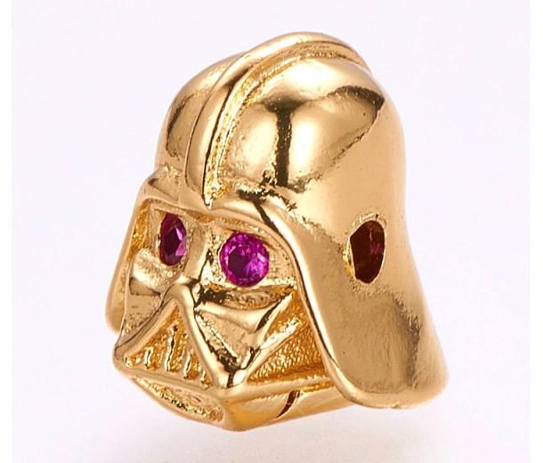 10x12mm Helmet Focal Bead with Rhinestones, Gold Tone, 1 Piece