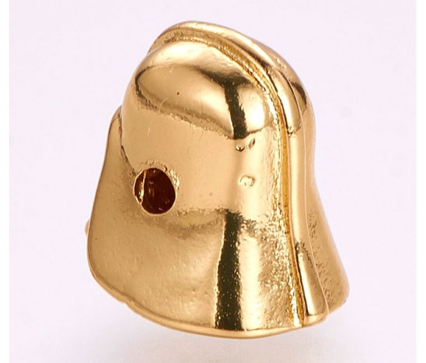 10x12mm Helmet Focal Bead with Rhinestones, Gold Tone