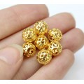 8mm Filigree Cage Round Beads, Gold Plated, Pack of 20