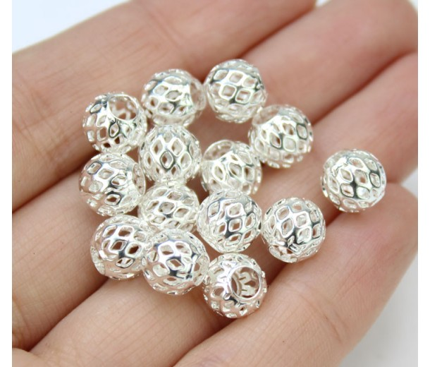 8mm Filigree Cage Round Beads, Silver Plated, Pack of 20