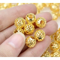 10mm Filigree Cage Round Beads, Gold Pla..
