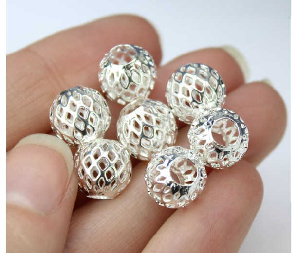10mm Filigree Cage Round Beads, Silver Plated, Pack of 5