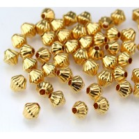 6mm Corrugated Bicone Beads, Gold Plated, Pack of 50