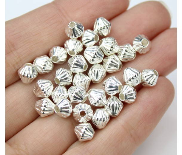 6mm Corrugated Bicone Beads, Silver Plated, Pack of 50