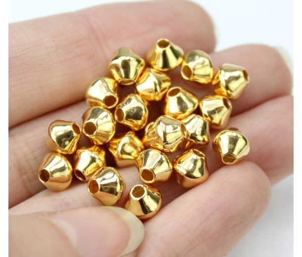 6mm Smooth Bicone Beads, Gold Plated, Pack of 50