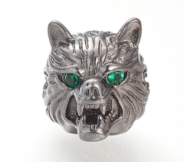 14mm Wolf Head Focal Bead with Rhinestone Eyes, Gunmetal