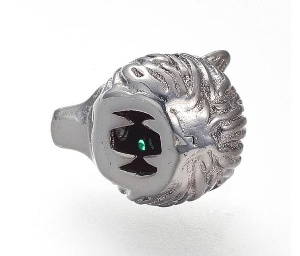 14mm Wolf Head Focal Bead with Rhinestone Eyes, Gunmetal