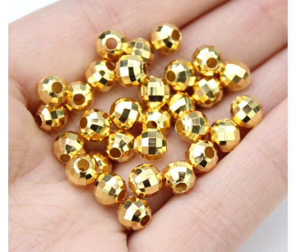 6mm Faceted Disco Round Beads, Gold Plated, Pack of 30