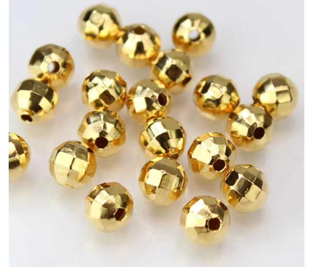 8mm Faceted Disco Round Beads, Gold Plated, Pack of 20
