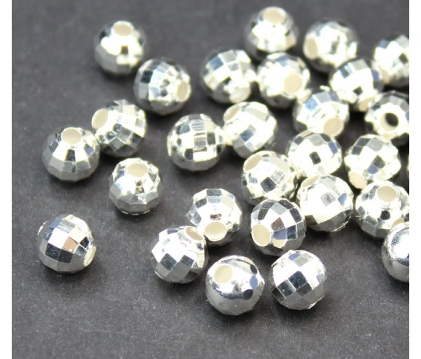 6mm Faceted Disco Round Beads, Silver Plated, Pack of 30