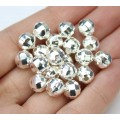 8mm Faceted Disco Round Beads, Silver Plated, Pack of 20