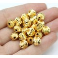 8mm Corrugated Round Beads, Gold Plated, Pack of 20
