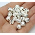 8mm Corrugated Round Beads, Silver Plated, Pack of 20
