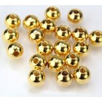 8mm Smooth Round Beads, Gold Plated, Pack of 20
